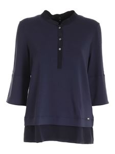 Fay - Silk details jersey polo shirt in blue