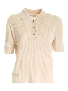 Ballantyne - Ribbed knit polo shirt in beige