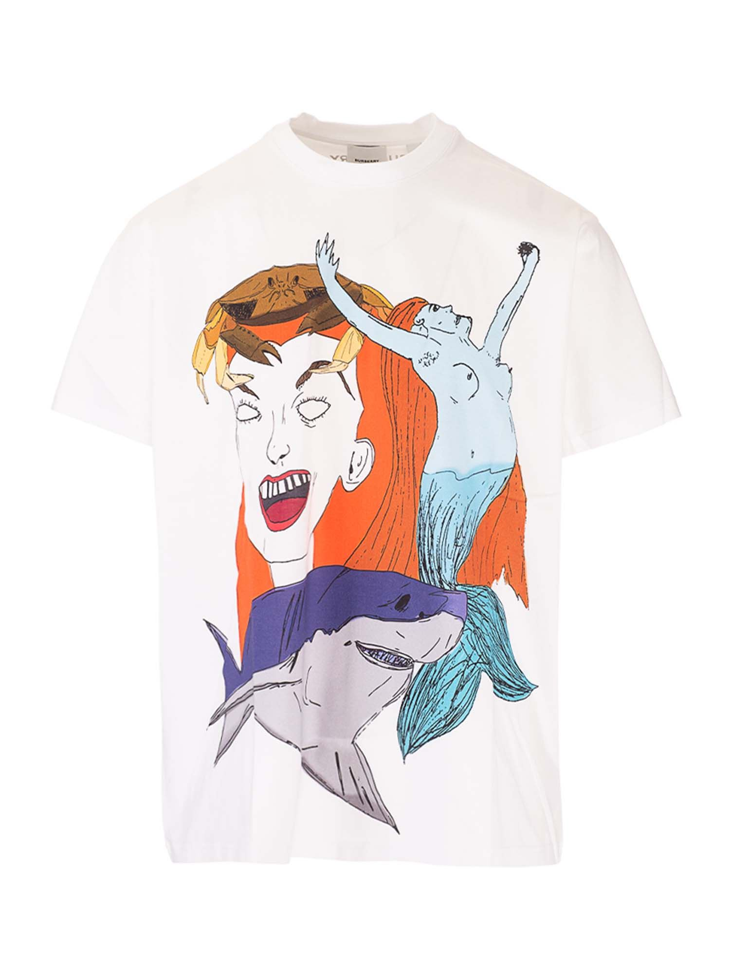 Burberry Cottons MERMAID PRINTED T-SHIRT IN WHITE