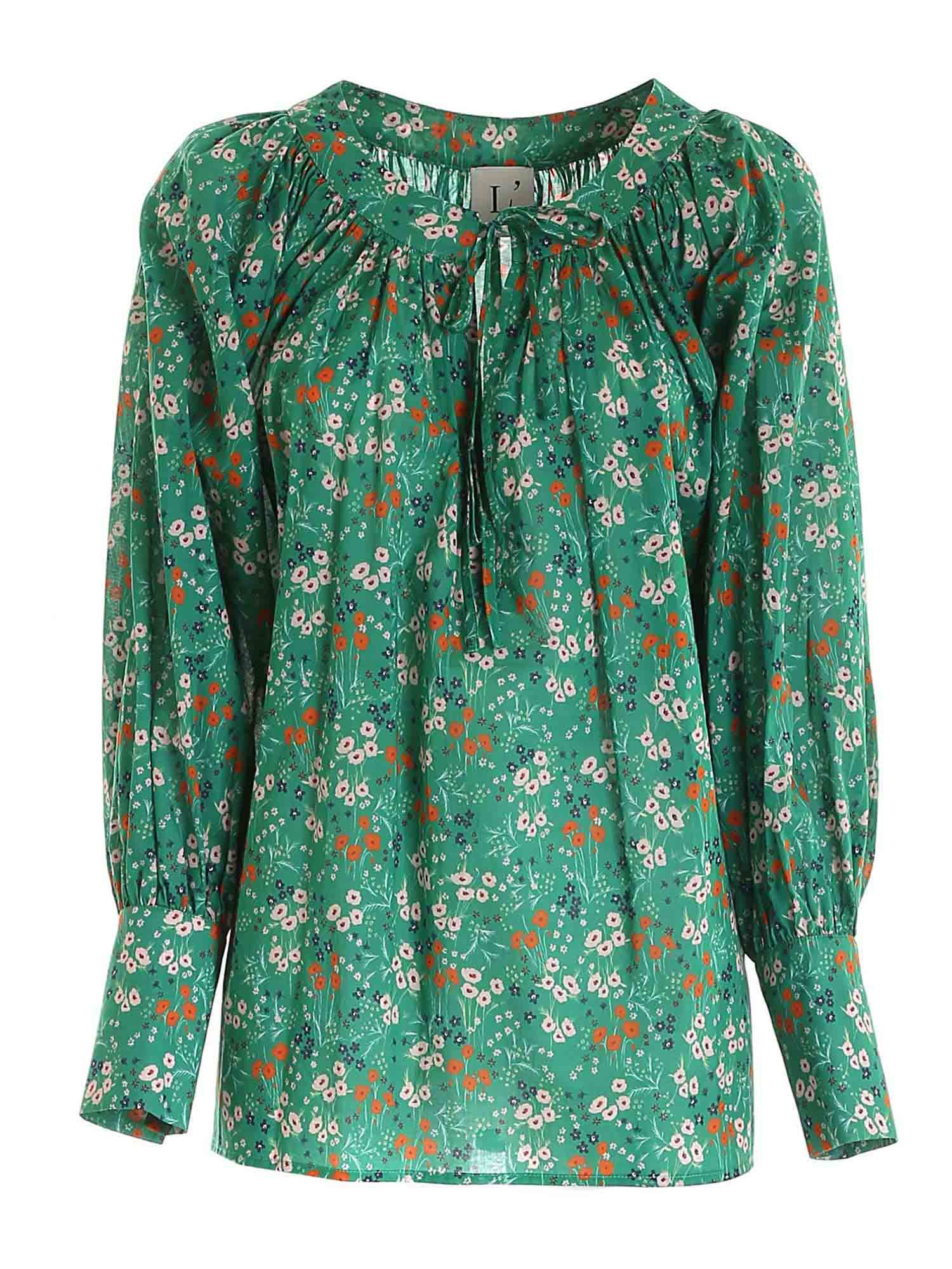 L'autre Chose FLORAL PRINT BLOUSE IN GREEN