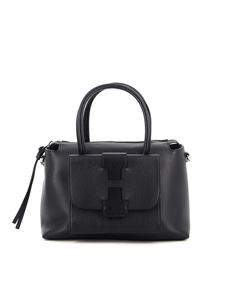 Hogan - Hammered leather bowling bag in black