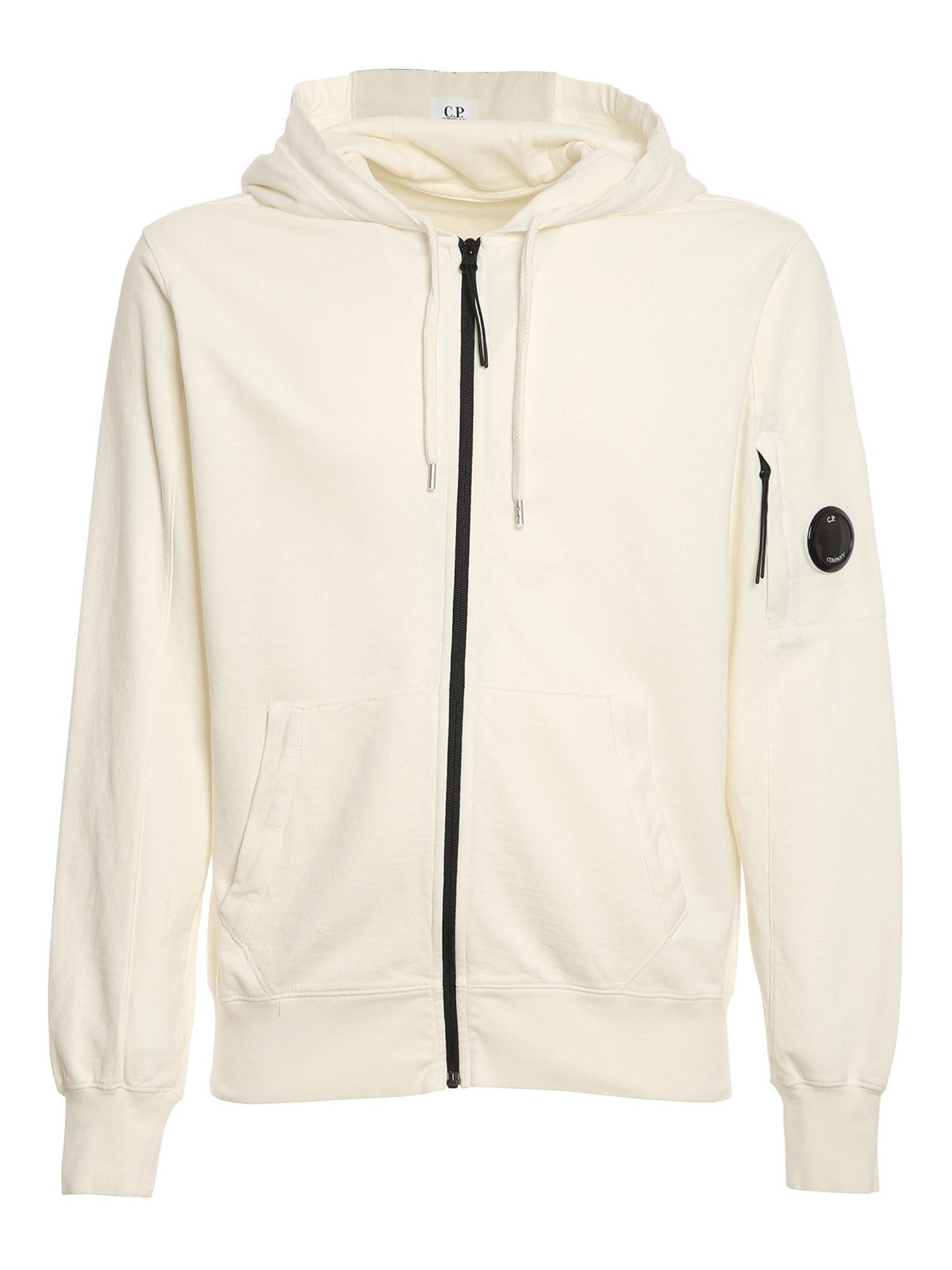 C.p. Company Cottons HOODED COTTON SWEATSHIRT IN WHITE