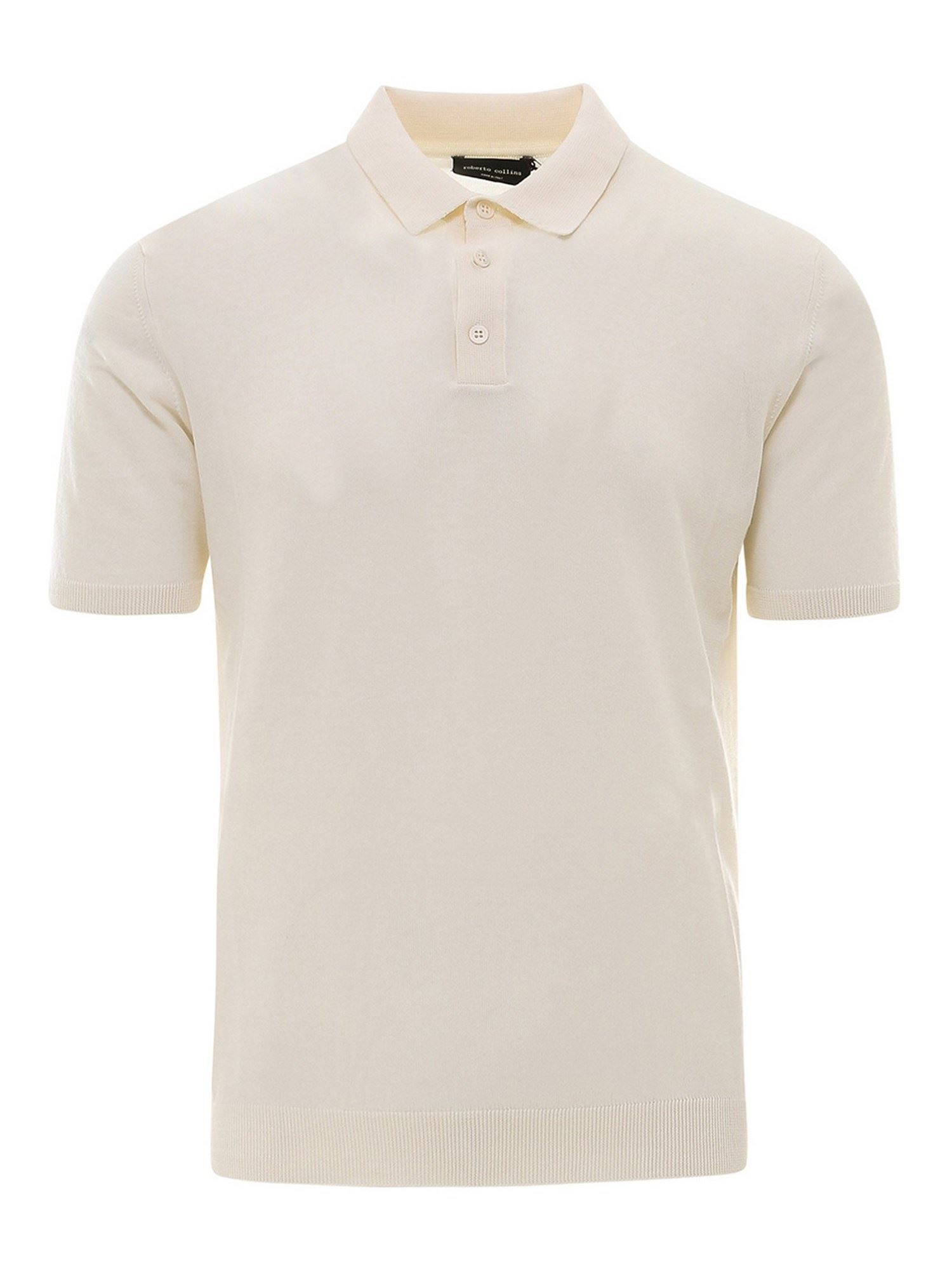 Roberto Collina JERSEY POLO IN IVORY COLOR