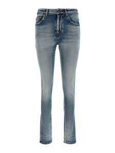Saint Laurent - Vintage effect skinny jeans in blue