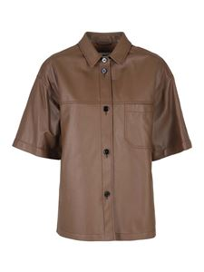 MM6 Maison Margiela - Leather short-sleeve shirt in brown