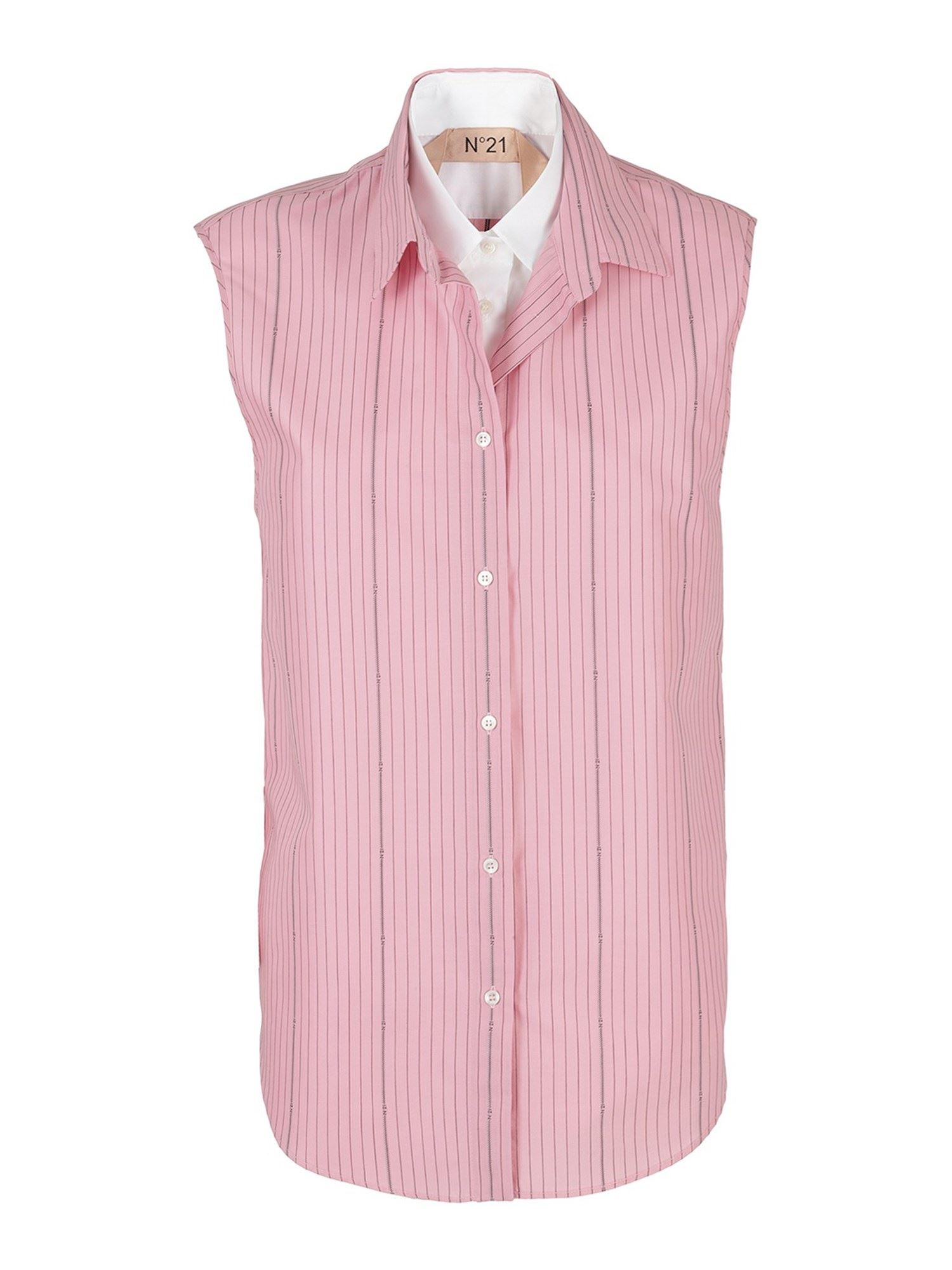 N°21 TWO-TONE SHIRT IN PINK