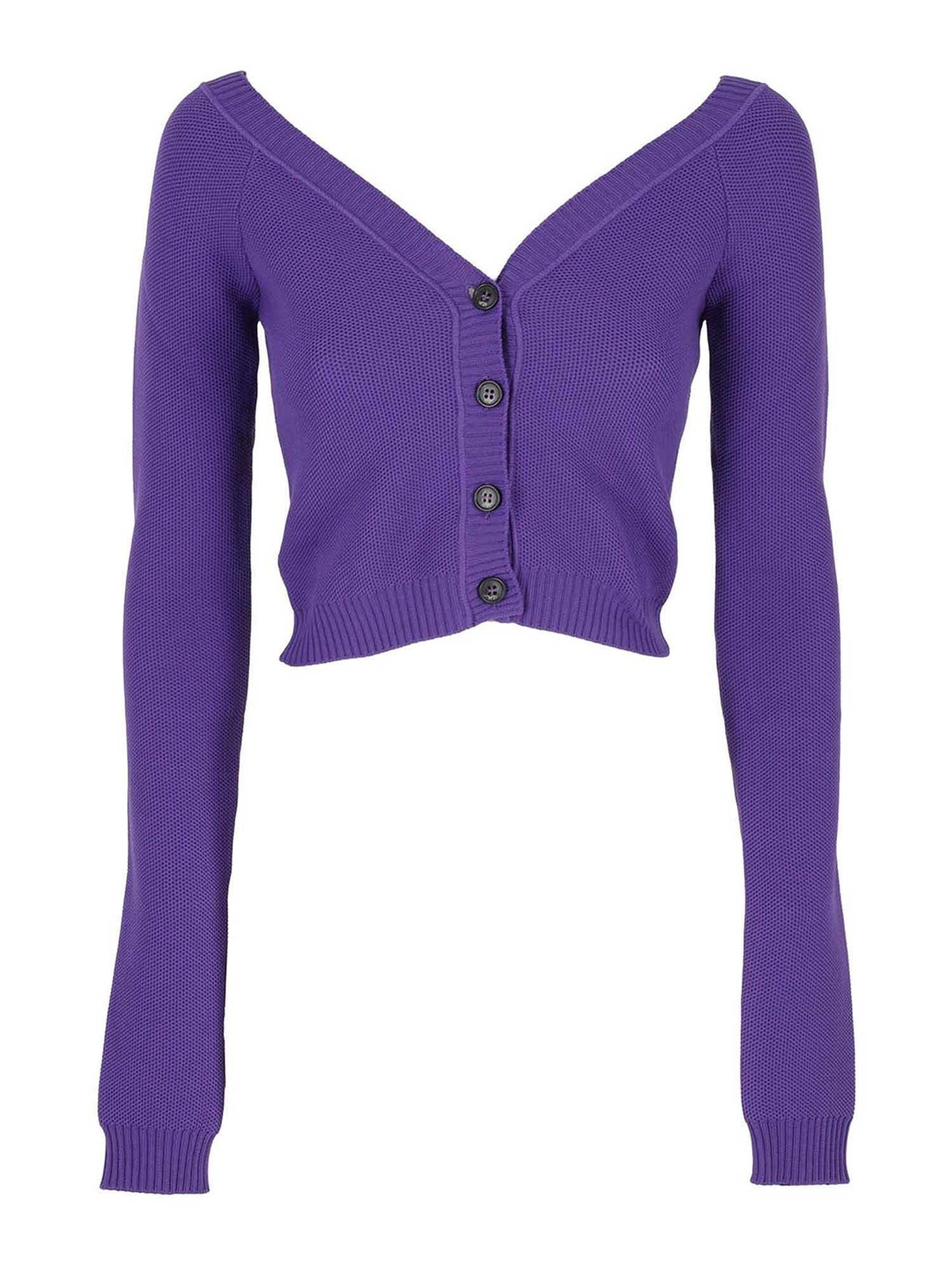 N°21 BUTTONED CROPPED CARDIGAN IN VIOLET