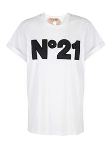 N° 21 - Logo embroidery T-shirt in white