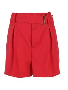 N° 21 - Belted high waist shorts in red
