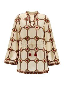 Tory Burch - Linen-cotton blend tunic in cream color