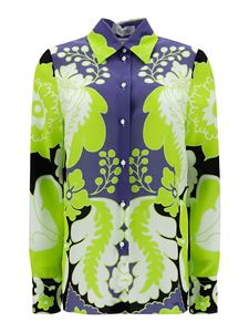 Valentino - Floral silk shirt in green and blue