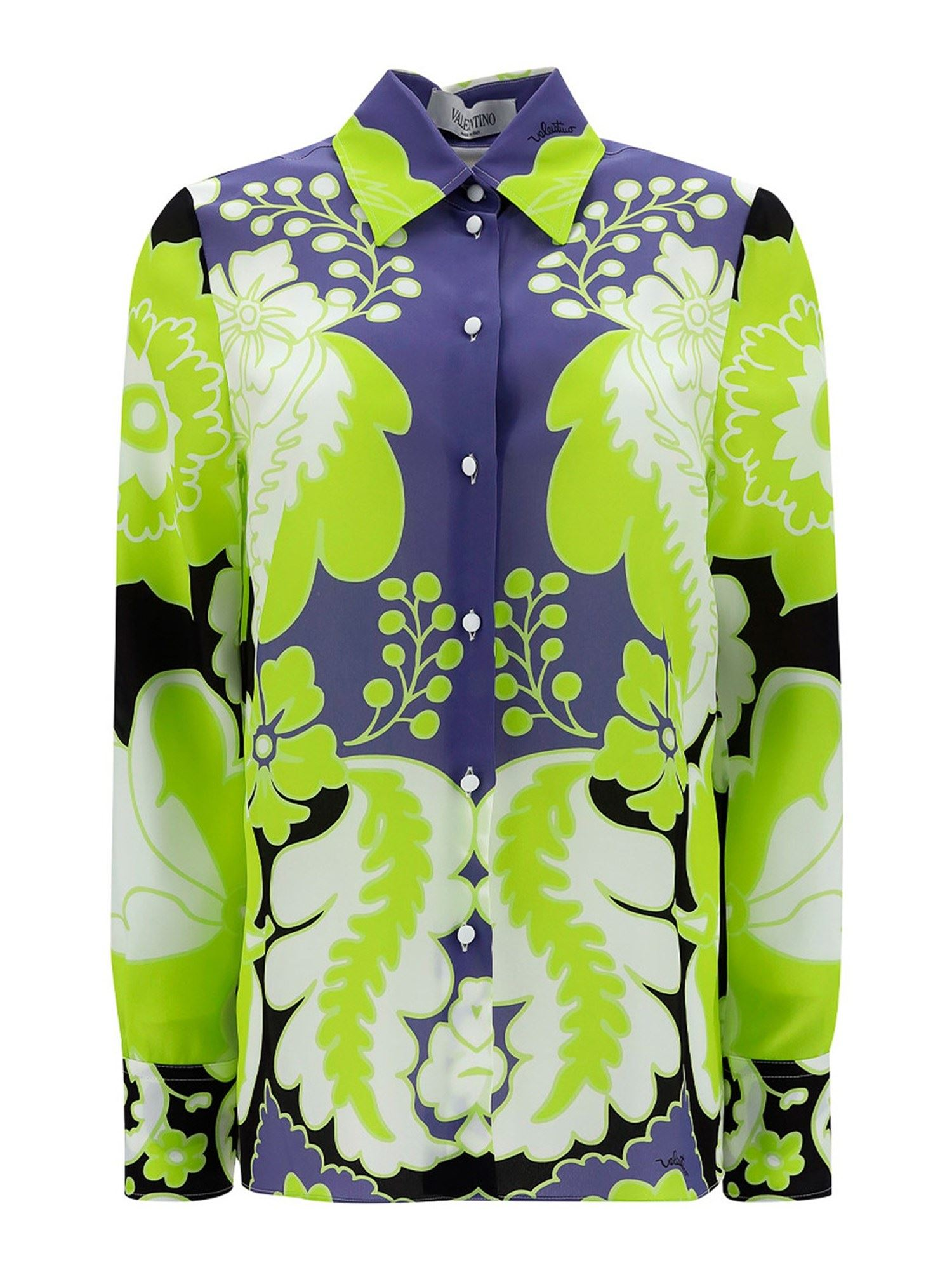 Valentino FLORAL SILK SHIRT IN GREEN AND BLUE
