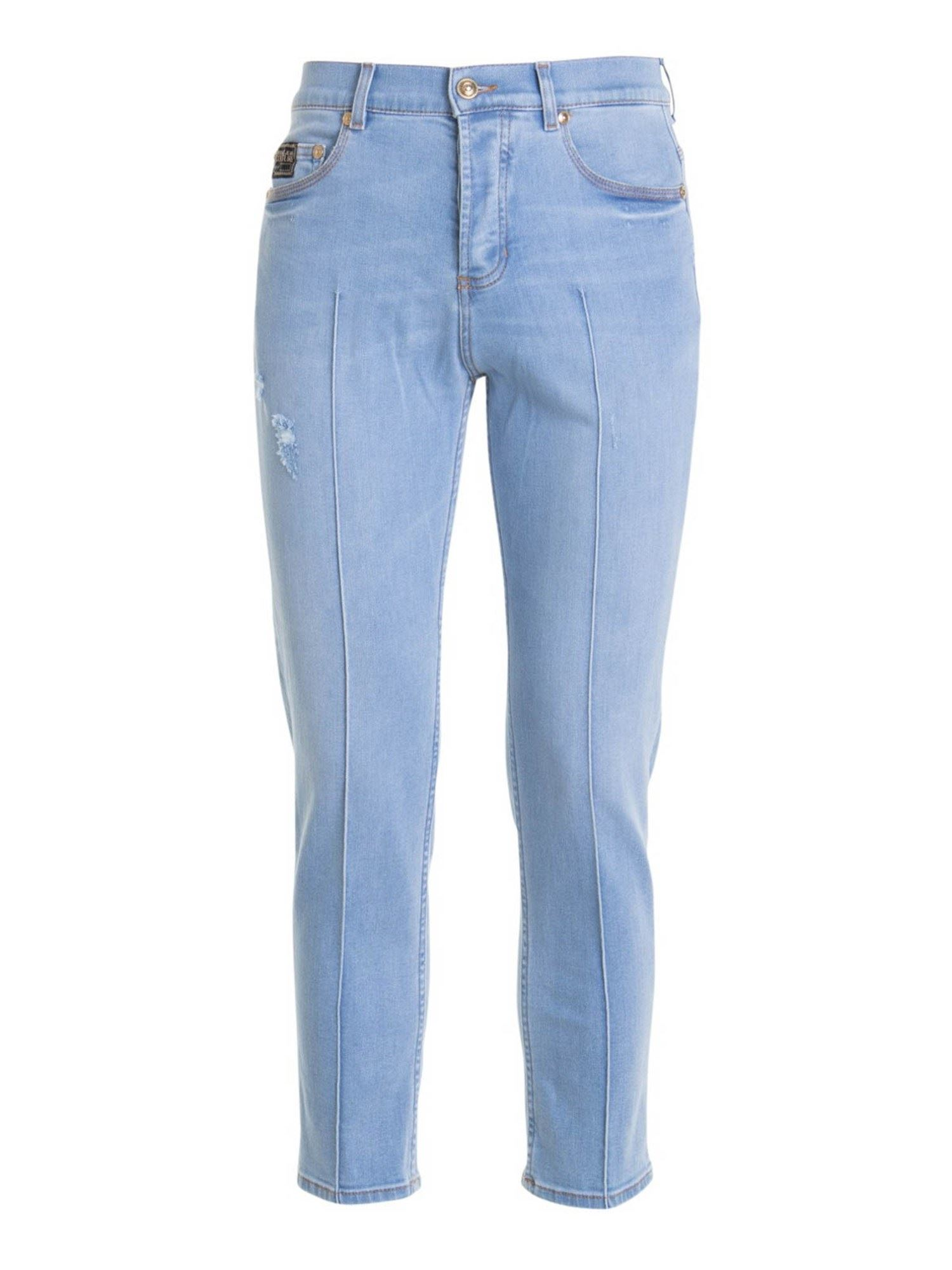 Versace Jeans Couture LOGO PATCH JEANS IN LIGHT BLUE