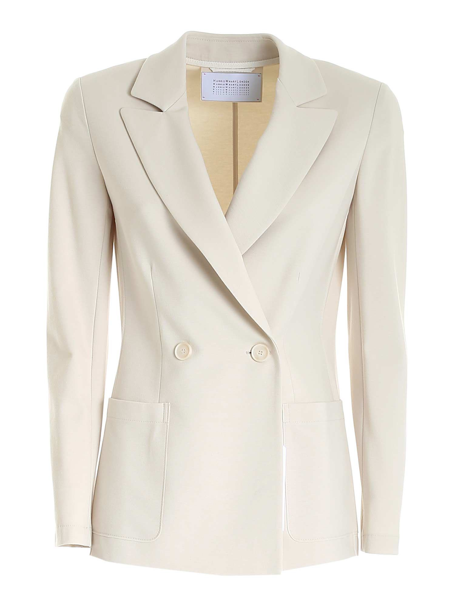 Harris Wharf London DOUBLE-BREASTED JACKET IN IVORY COLOR