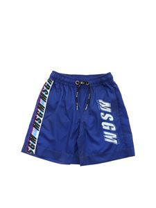 MSGM Kids - Logo print swim shorts in blue