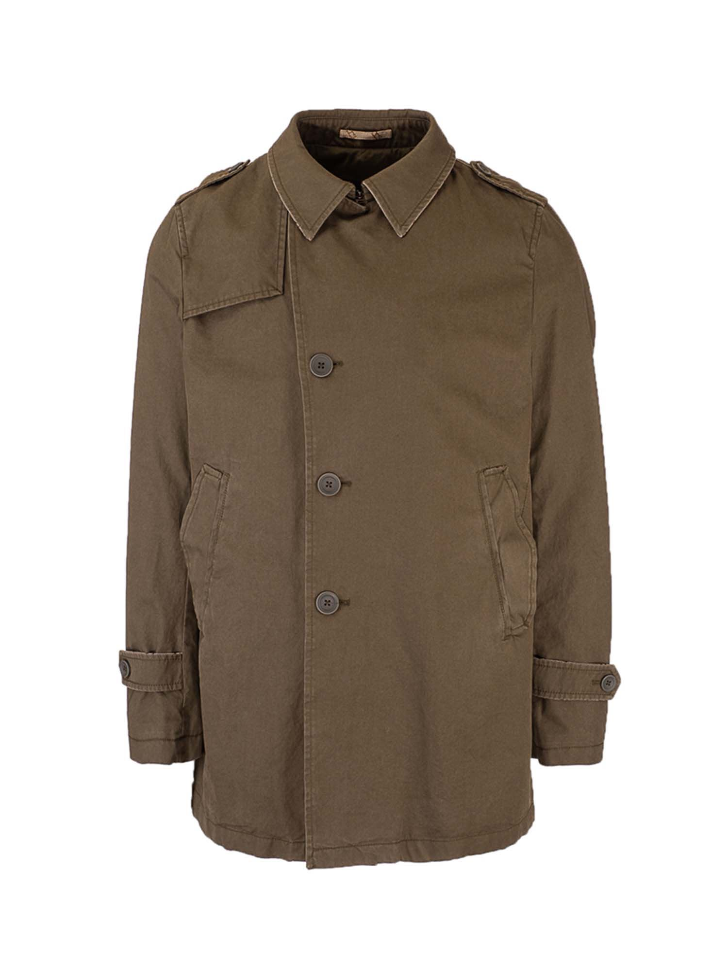 Herno Trenchcoats ASYMMETRIC FASTENING TRENCH COAT IN GREEN