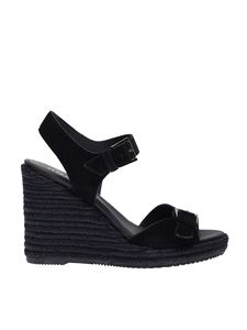 Hogan - Buckles suede wedges in black