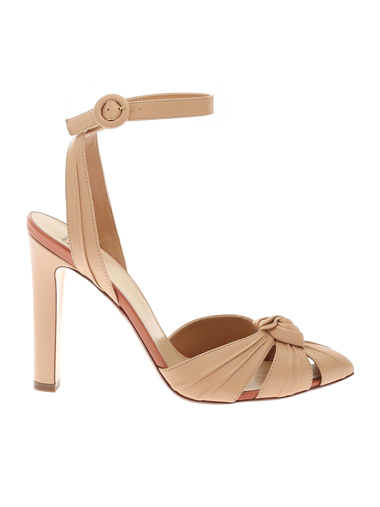 Francesco Russo CHUNKY HEEL ANKLE STRAP IN NUDE COLOR
