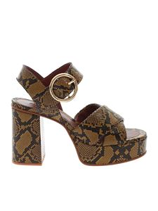 See by Chloé - Clara reptile print sandals in beige and black