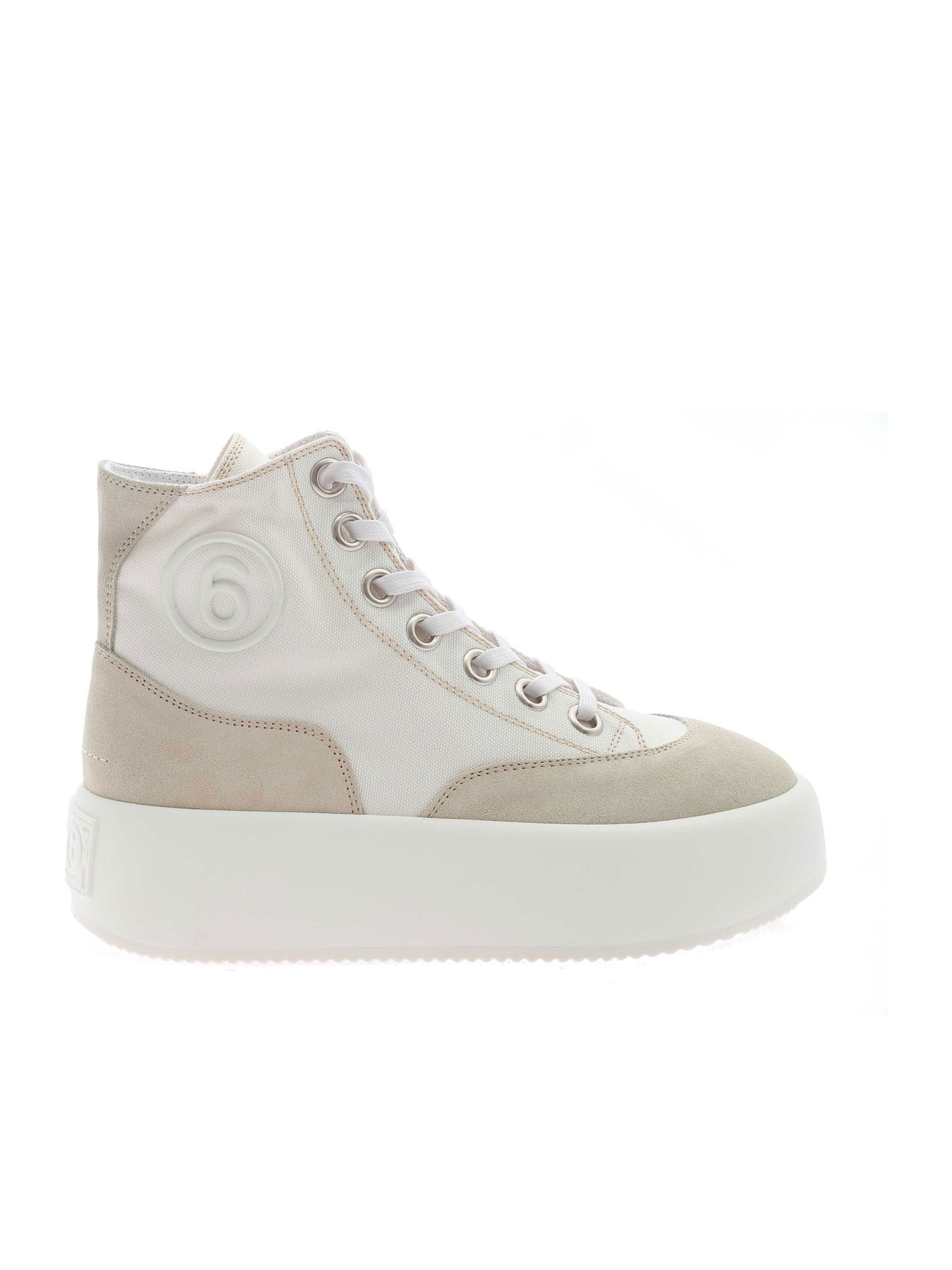 Mm6 Maison Margiela CANVAS AND SUEDE SNEAKERS IN IVORY