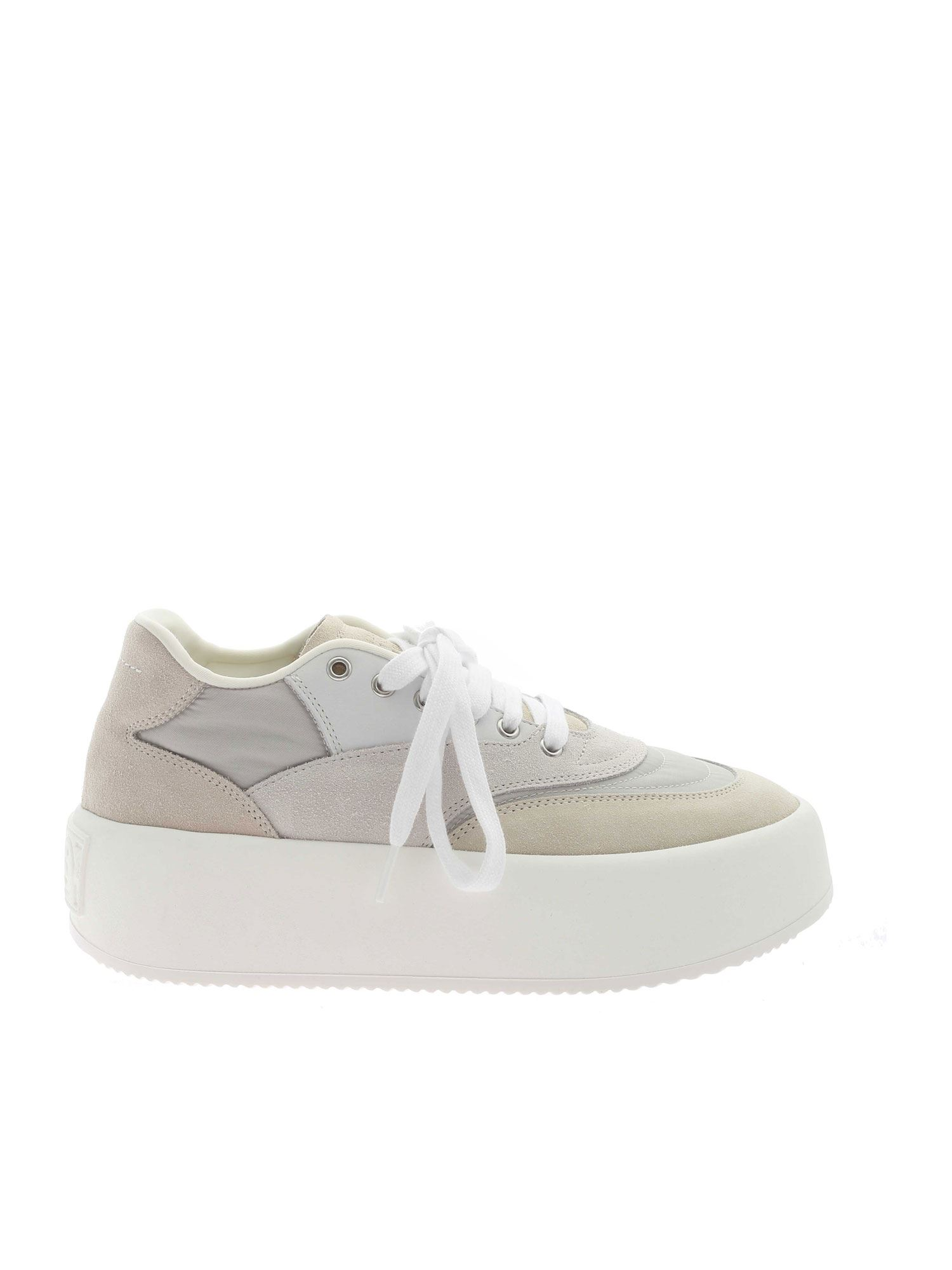 Mm6 Maison Margiela FABRIC AND SUEDE SNEAKERS IN IVORY COLOR