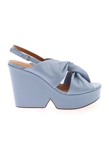 Clergerie - Dixie wedge in pale blue color