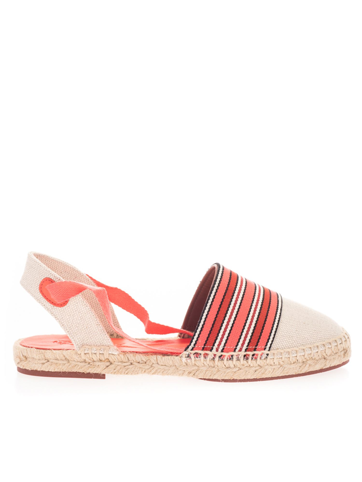 Loro Piana ESPADRILLES IN BEIGE AND SHADES OF RED