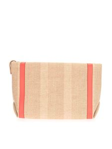Loro Piana - Fabric clutch bag in Natural and Sunrise color
