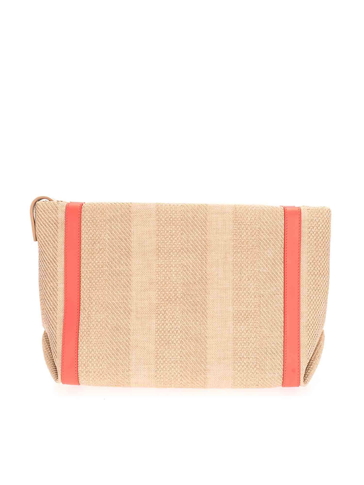 Loro Piana FABRIC CLUTCH BAG IN NATURAL AND SUNRISE COLOR