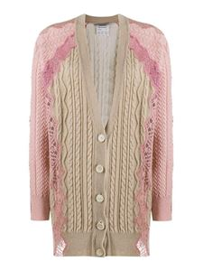 Stella McCartney - Virgin wool cardigan in beige and pink