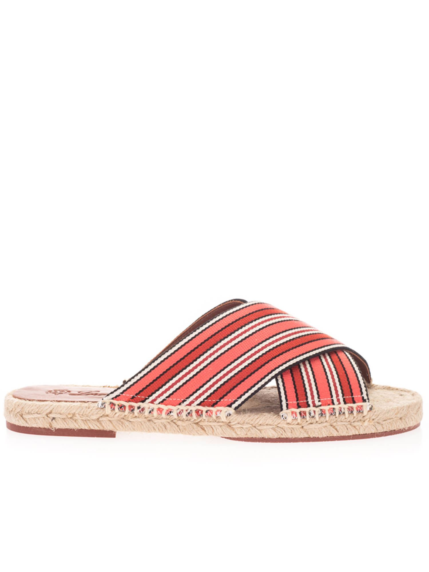 Loro Piana SUITCASE STRIPES CROSS SANDALS IN CORAL BAY