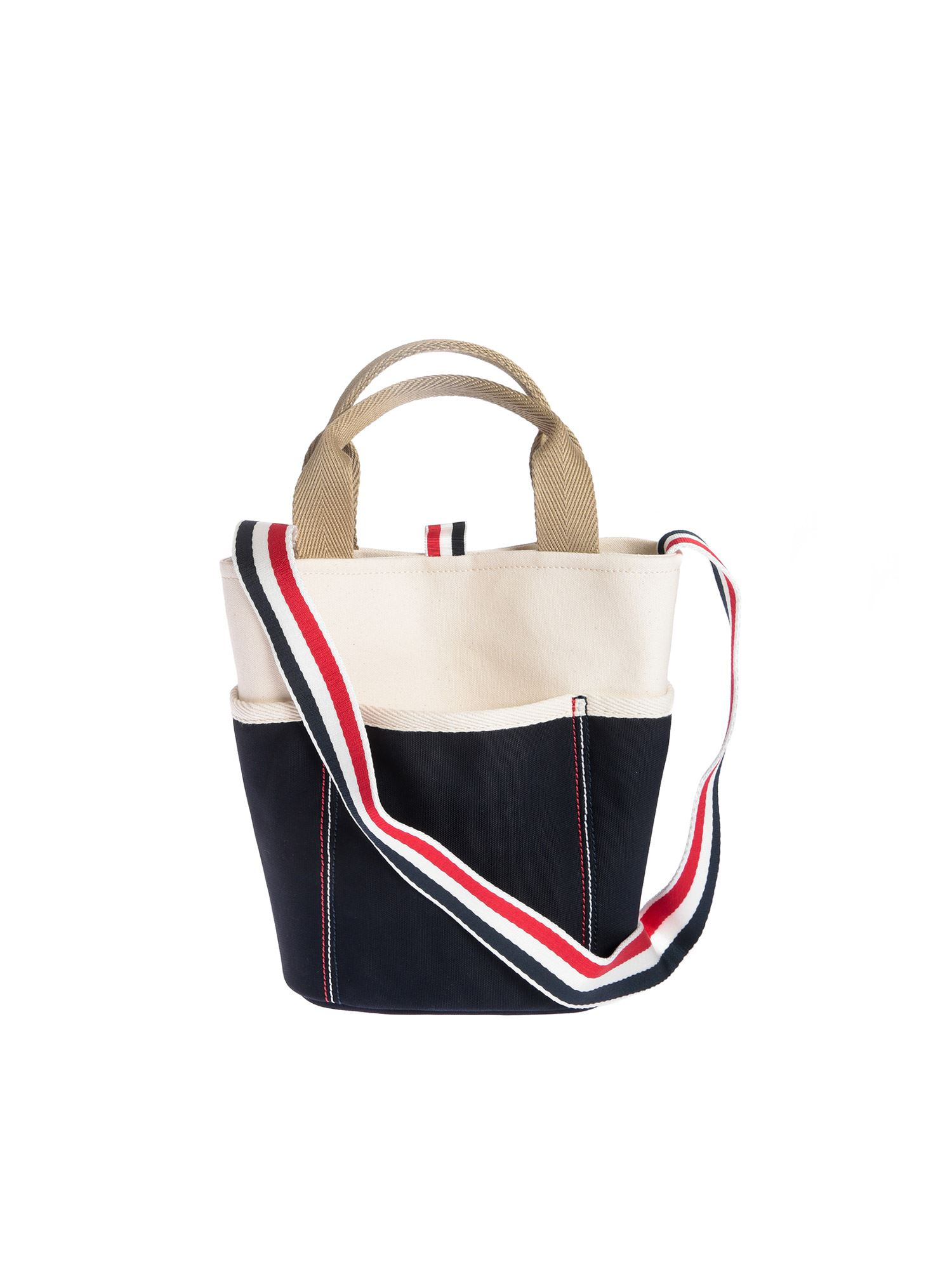 Thom Browne LARGE BUCKET BAG IN WHITE AND BLUE