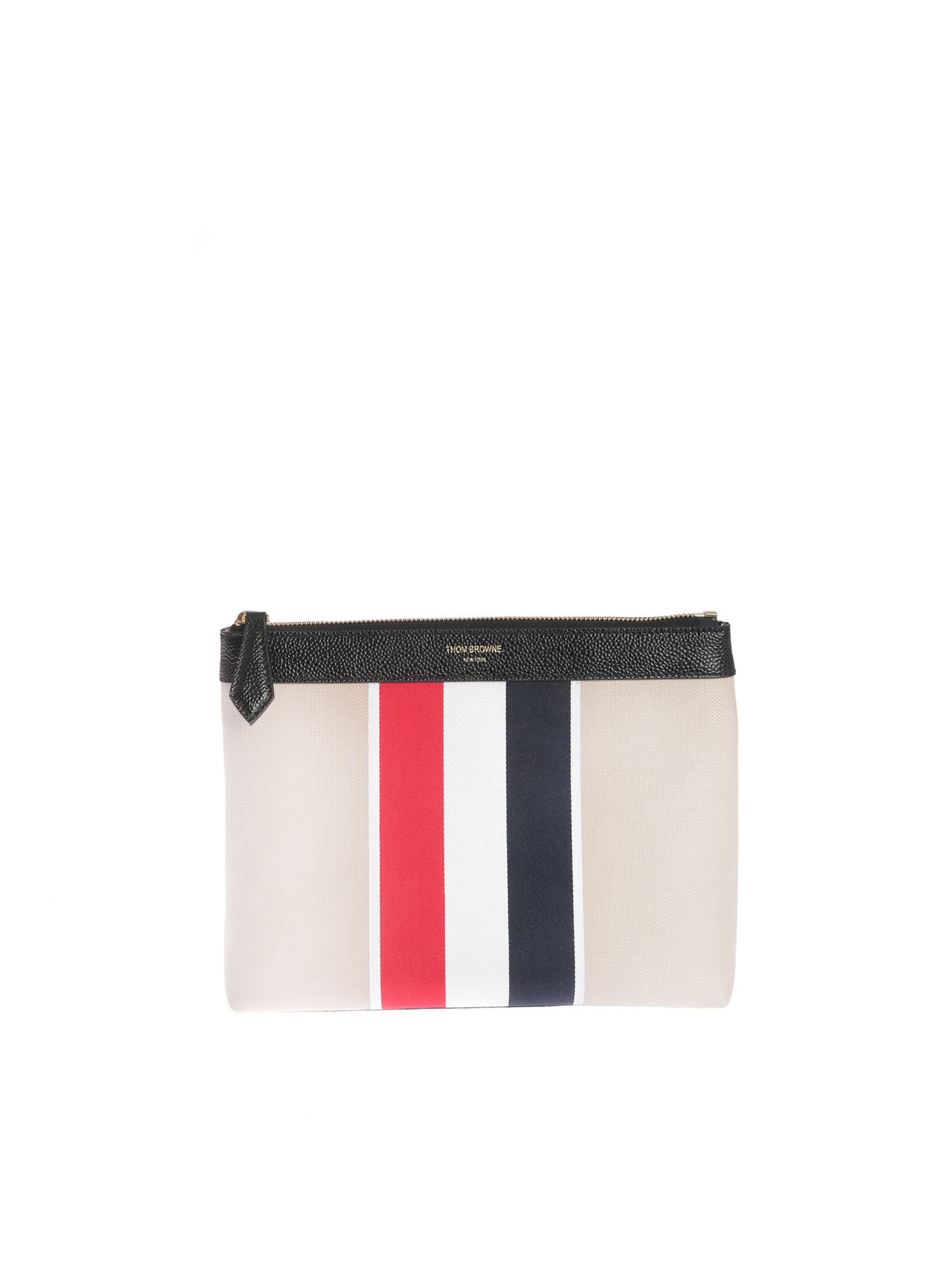 Thom Browne 3-BAND BEAUTY CASE IN CREAM COLOR
