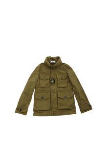 Stone Island Junior - Field jacket verde con patch logo