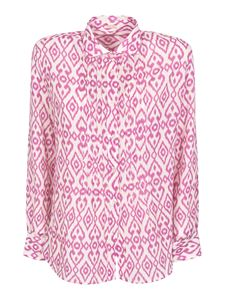 massimo alba - Dea printed shirt in pink and white