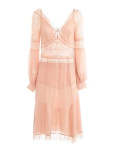 Amen - Crêpe de chine and lace dress in pink