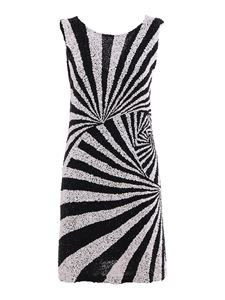 Parosh - Sequined two-tone dress in black and white