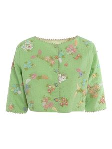 péro - Floral embellished cropped jacket in green