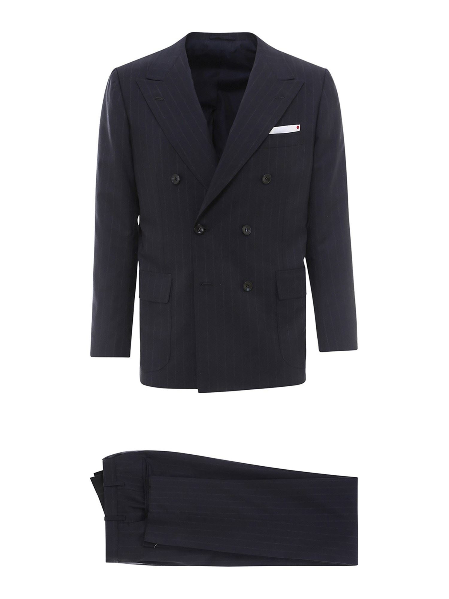Kiton Linens PINSTRIPE CASHMERE TWO-PIECE SUIT IN BLUE