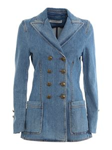 Philosophy di Lorenzo Serafini - Faded denim blazer jacket in blue