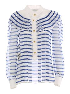 Philosophy di Lorenzo Serafini - Striped chiffon blouse in blue and white