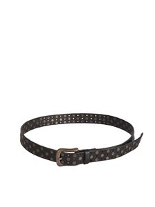 massimo alba - Studded leather belt in black