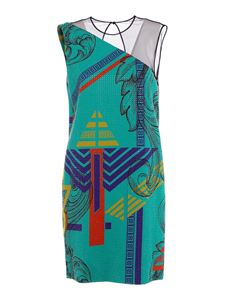 Versace Collection - Rhinestones embellished dress in green