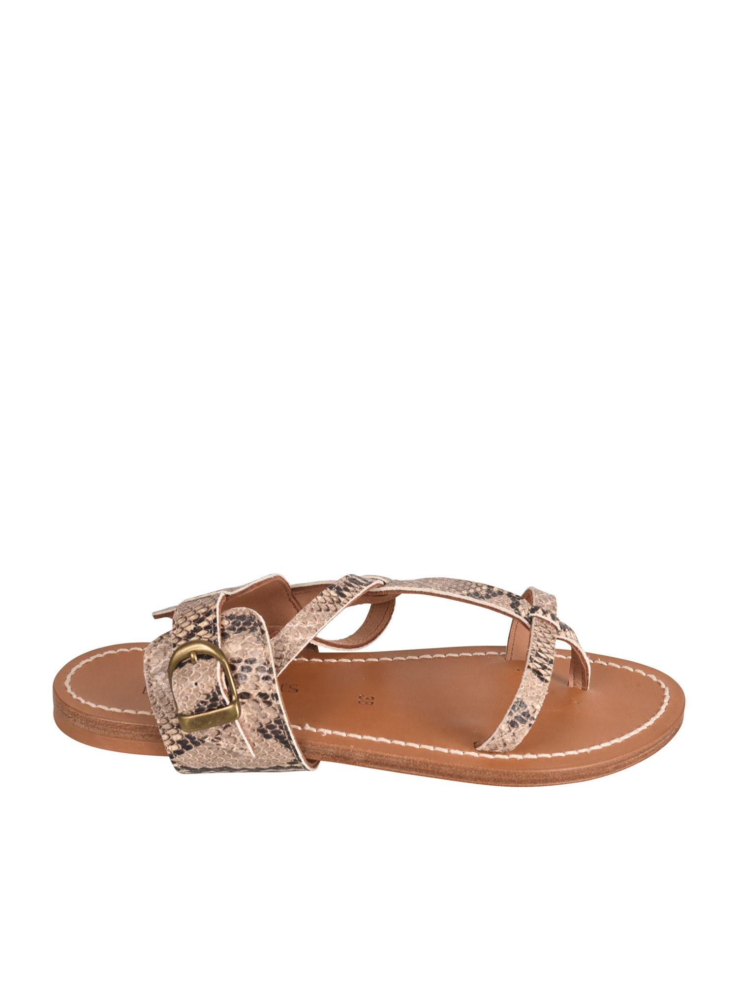 K.jacques CARAVELLE REPTILE EFFECT SANDALS IN DUNA COLOR
