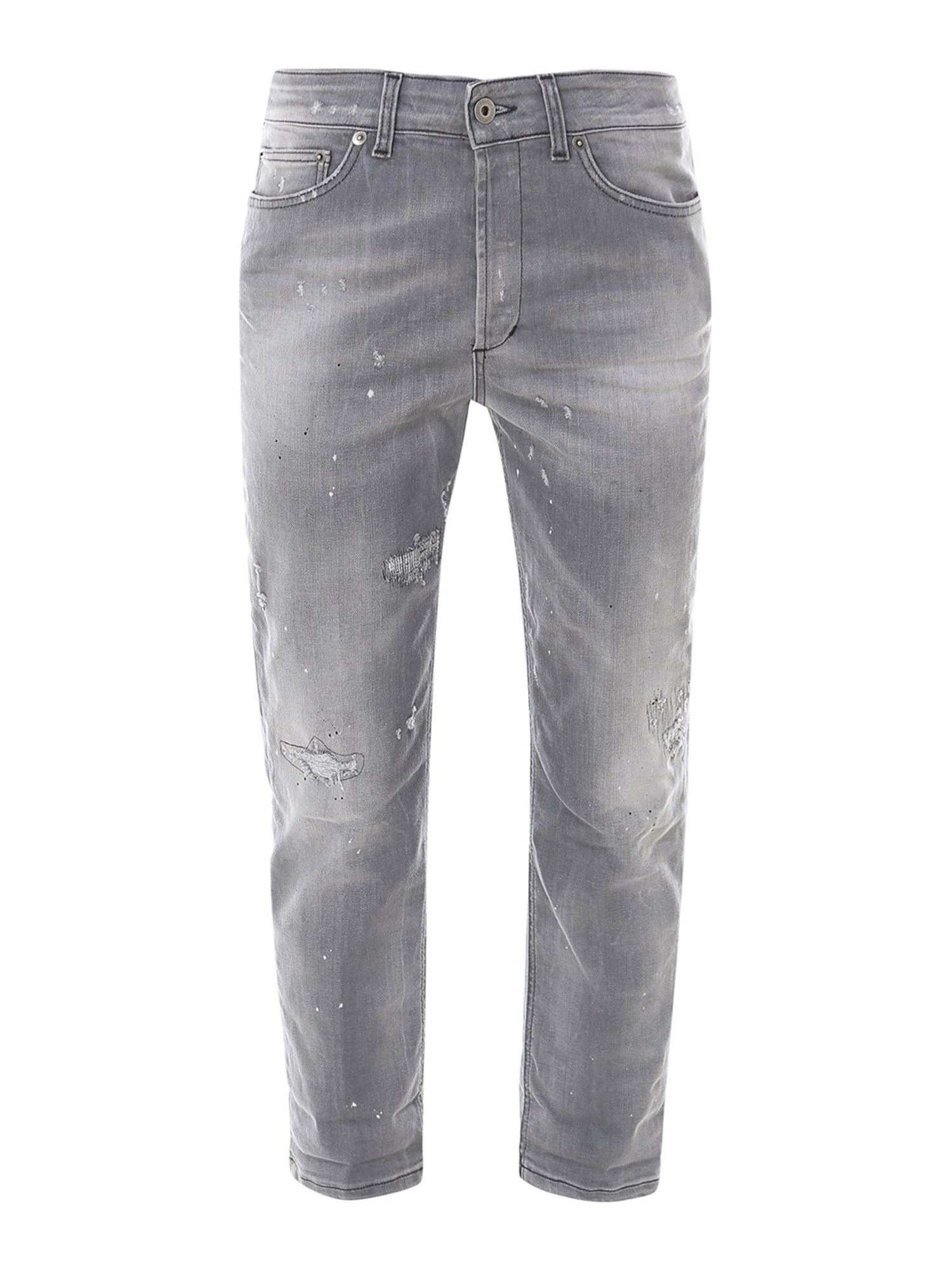 Dondup RECYCLED COTTON BLEND BOYFRIEND JEANS IN GREY