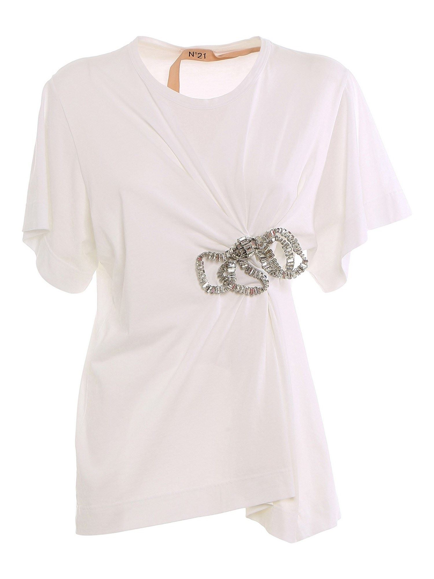 N°21 EMBELLISHED T-SHIRT IN WHITE