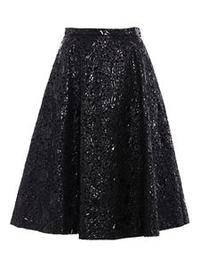 N° 21 - Embroidered patent effect skirt in black