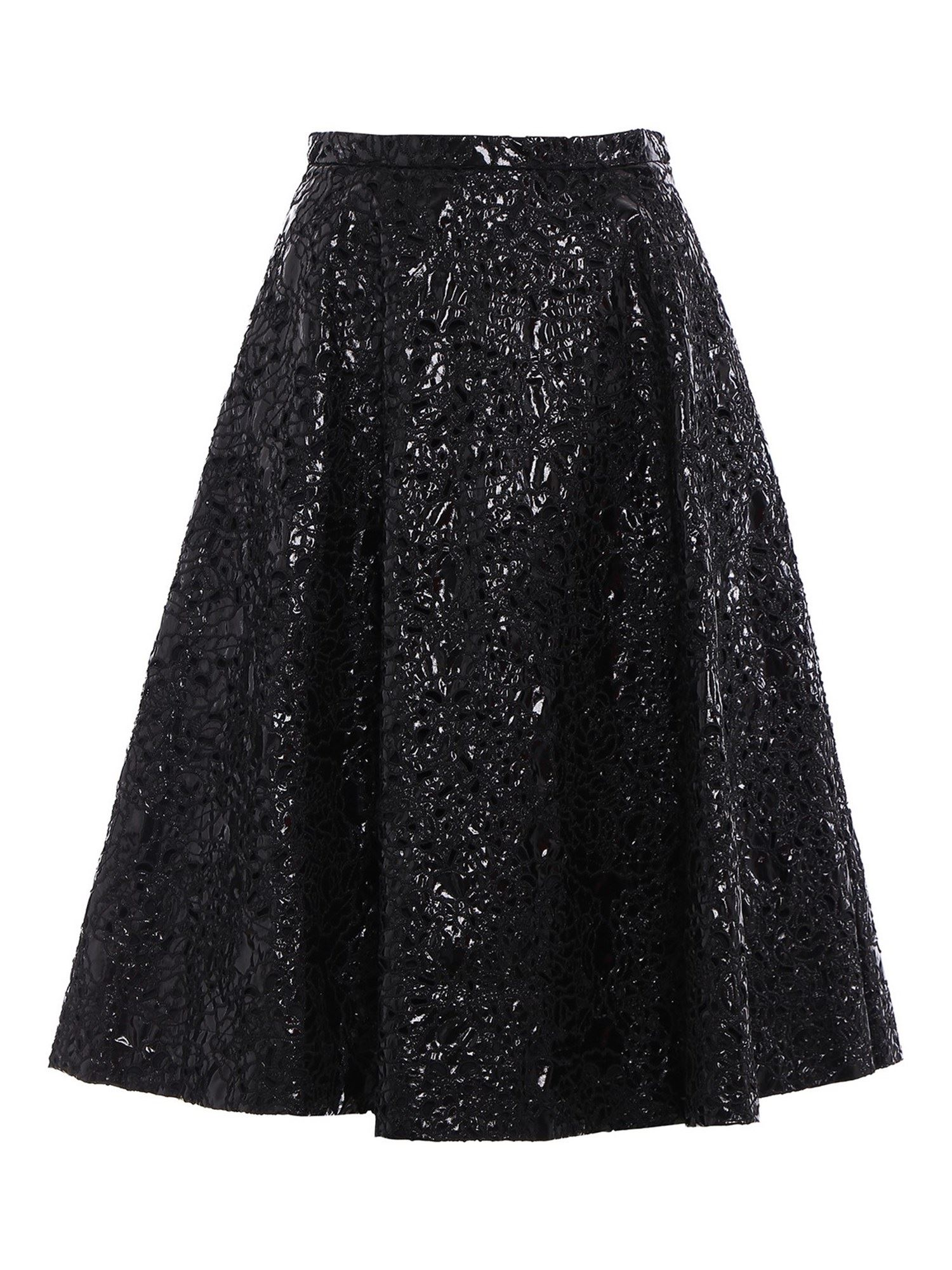 N°21 EMBROIDERED PATENT EFFECT SKIRT IN BLACK