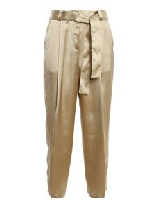 PT Torino - Viscose satin pants in gold color