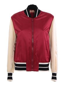 N° 21 - Embellished puffer bomber jacket in red